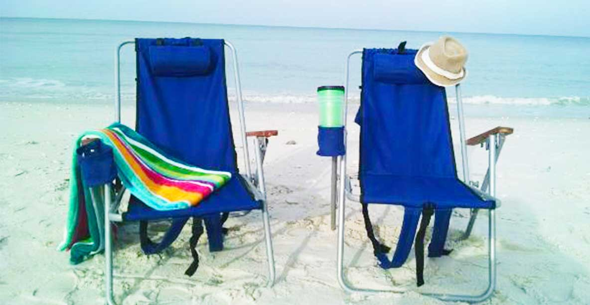 Backpack beach chairs available for rent with bike rental purchase | Beach Bum Bike Rentals and Delivery