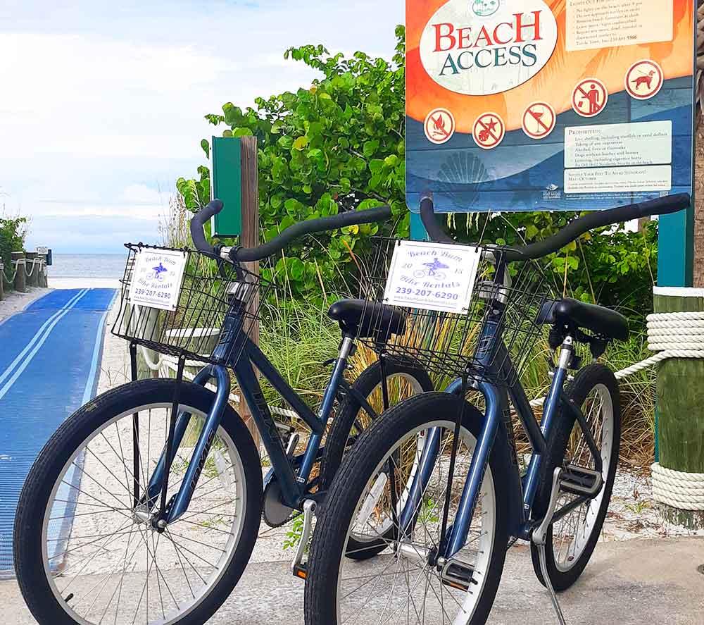 Jamies Taxi beach cruiser bicycles near Naples, Florida beach access   Bike rentals Naples, Florida Beach Bum Bike Rentals