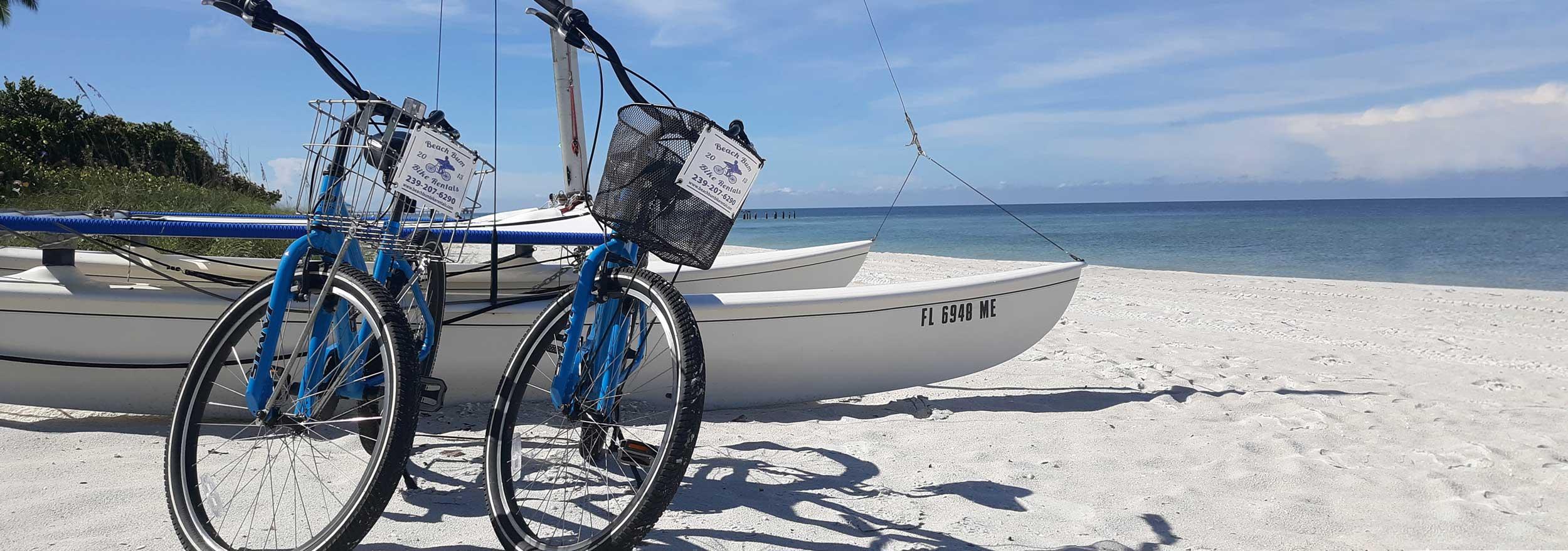 Bike rentals with sailboat on Naples, Florida beach   Beach Bum Bike Rentals and Delivery Naples, Florida